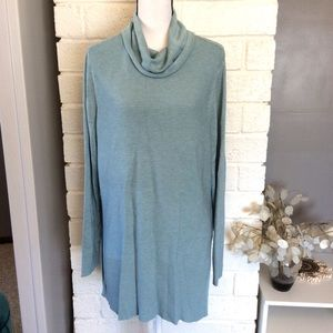 Adrienne Vittadini Cowl Neck Ribbed Long Sweater
